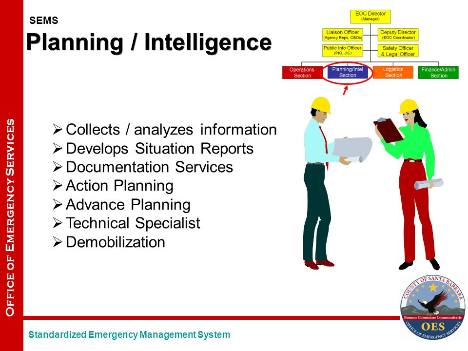 Office of Emergency Services Planning / Intelligence  Collects / analyzes information  Develops Situation Reports  Documentation Services  Action Planning  Advance Planning  Technical Specialist  Demobilization SEMS Standardized Emergency Management System