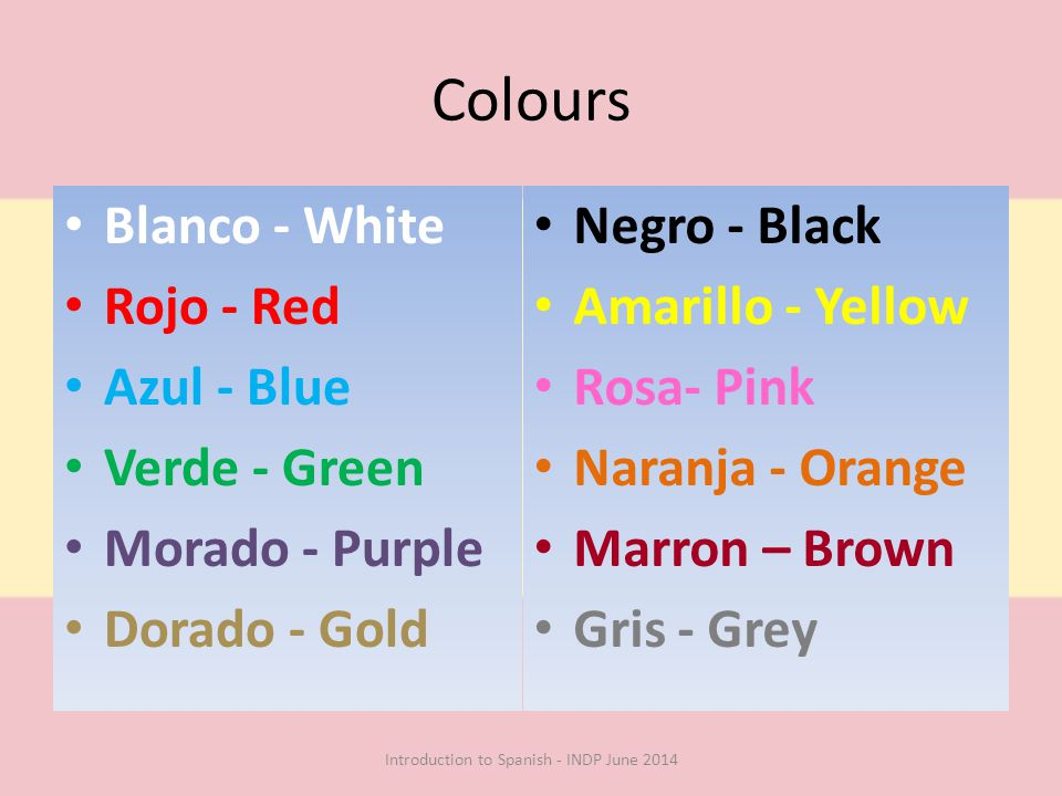 Colours Blanco - White Rojo - Red Azul - Blue Verde - Green Morado - Purple Dorado - Gold Negro - Black Amarillo - Yellow Rosa- Pink Naranja - Orange Marron – Brown Gris - Grey Introduction to Spanish - INDP June 2014