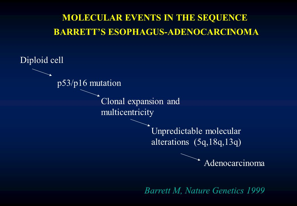 MOLECULAR EVENTS IN THE SEQUENCE BARRETT'S ESOPHAGUS-ADENOCARCINOMA Barrett M, Nature Genetics 1999 Diploid cell p53/p16 mutation Clonal expansion and multicentricity Unpredictable molecular alterations (5q,18q,13q) Adenocarcinoma