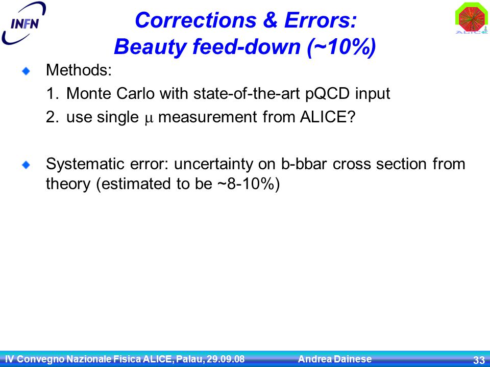 IV Convegno Nazionale Fisica ALICE, Palau, Andrea Dainese 33 Corrections & Errors: Beauty feed-down (~10%) Methods: 1.Monte Carlo with state-of-the-art pQCD input 2.use single  measurement from ALICE.
