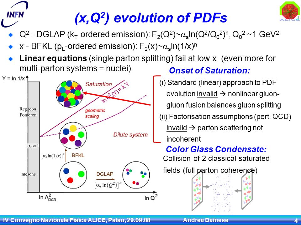 IV Convegno Nazionale Fisica ALICE, Palau, Andrea Dainese 4 (x,Q 2 ) evolution of PDFs Q 2 - DGLAP (k T -ordered emission): F 2 (Q 2 )~  s ln(Q 2 /Q 0 2 ) n, Q 0 2 ~1 GeV 2 x - BFKL (p L -ordered emission): F 2 (x)~  s ln(1/x) n Linear equations (single parton splitting) fail at low x (even more for multi-parton systems = nuclei) Onset of Saturation: (i) Standard (linear) approach to PDF evolution invalid  nonlinear gluon- gluon fusion balances gluon splitting (ii) Factorisation assumptions (pert.