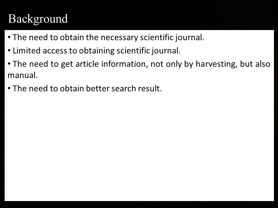 The need to obtain the necessary scientific journal.