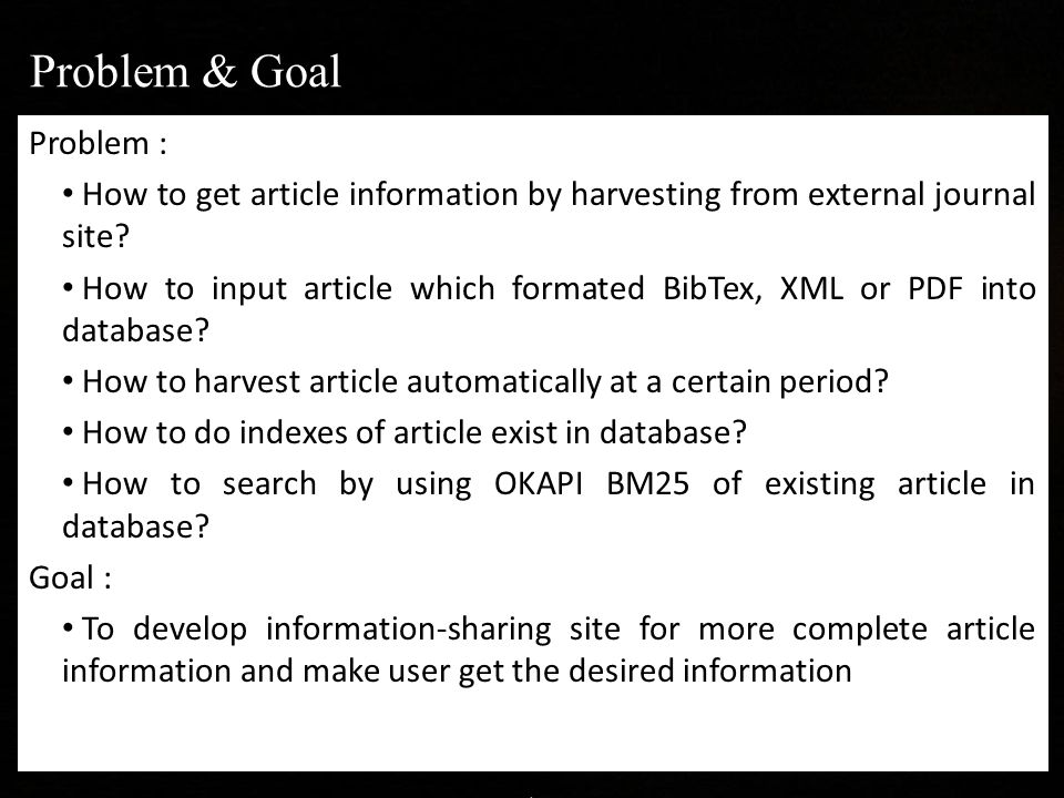 Problem : How to get article information by harvesting from external journal site.