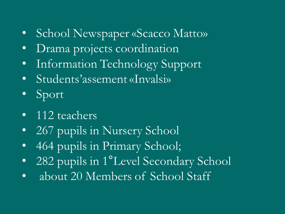 School Newspaper «Scacco Matto» Drama projects coordination Information Technology Support Students'assement «Invalsi» Sport 112 teachers 267 pupils in Nursery School 464 pupils in Primary School; 282 pupils in 1°Level Secondary School about 20 Members of School Staff