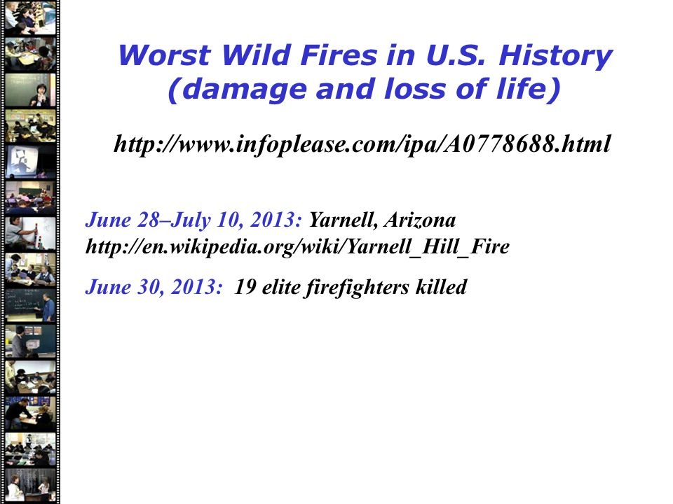 Speakers Worst Wild Fires in U.S.