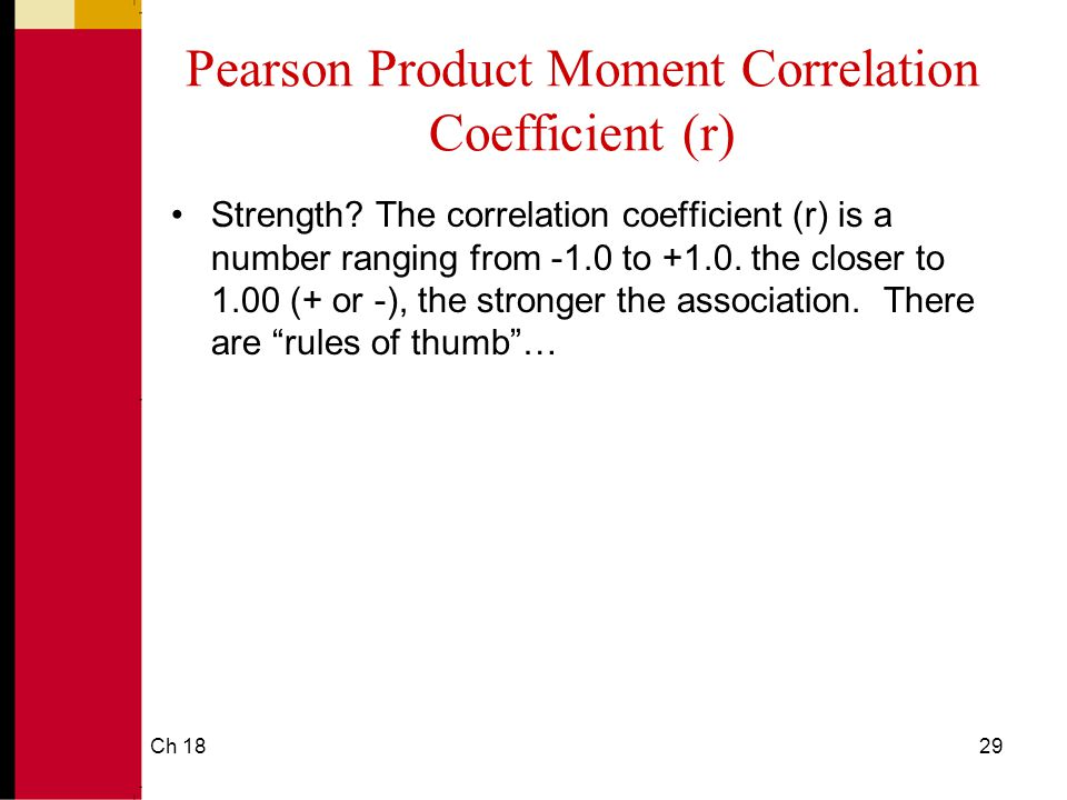 Ch 1829 Pearson Product Moment Correlation Coefficient (r) Strength.