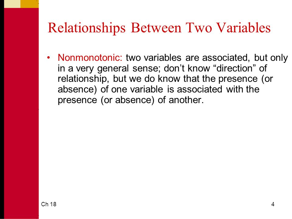 Ch 184 Relationships Between Two Variables Nonmonotonic: two variables are associated, but only in a very general sense; don't know direction of relationship, but we do know that the presence (or absence) of one variable is associated with the presence (or absence) of another.
