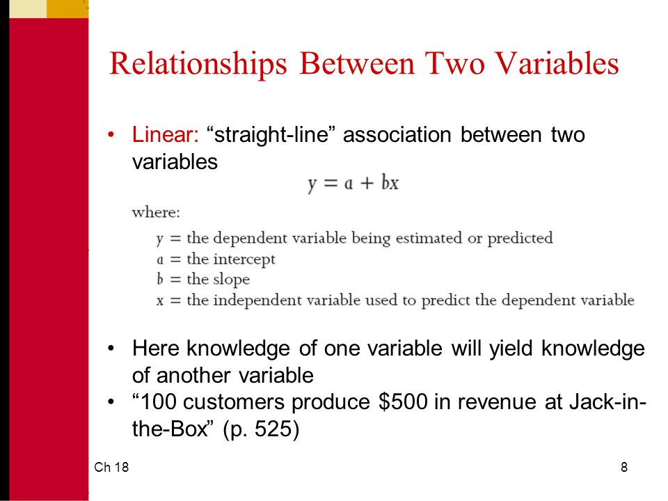 Ch 188 Relationships Between Two Variables Linear: straight-line association between two variables Here knowledge of one variable will yield knowledge of another variable 100 customers produce $500 in revenue at Jack-in- the-Box (p.