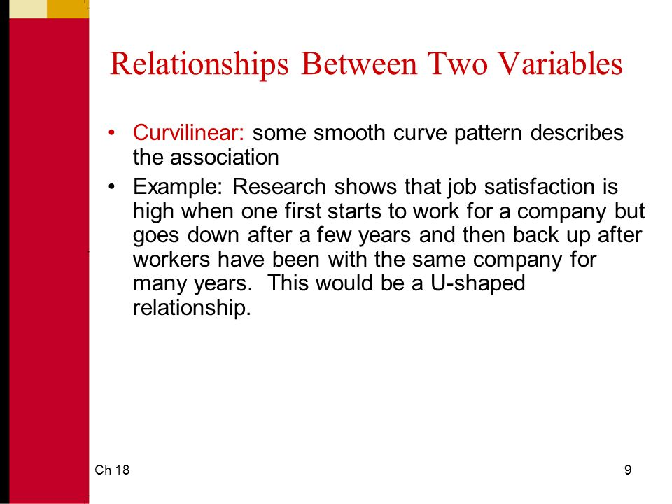 Ch 189 Relationships Between Two Variables Curvilinear: some smooth curve pattern describes the association Example: Research shows that job satisfaction is high when one first starts to work for a company but goes down after a few years and then back up after workers have been with the same company for many years.