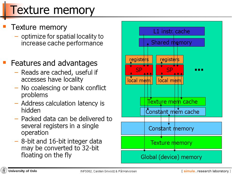 INF5062, Carsten Griwodz & Pål Halvorsen University of Oslo Texture memory  Texture memory − optimize for spatial locality to increase cache performance  Features and advantages −Reads are cached, useful if accesses have locality −No coalescing or bank conflict problems −Address calculation latency is hidden −Packed data can be delivered to several registers in a single operation −8-bit and 16-bit integer data may be converted to 32-bit floating on the fly L1 instr.