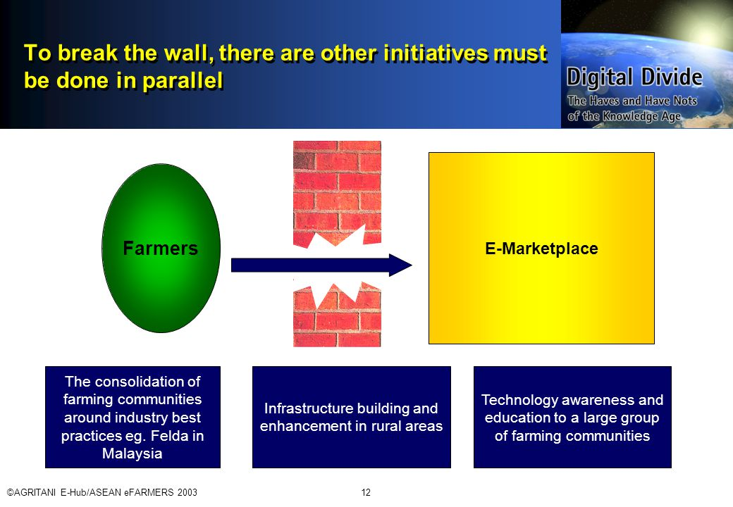 ©AGRITANI E-Hub/ASEAN eFARMERS 200312 To break the wall, there are other initiatives must be done in parallel E-Marketplace Farmers The consolidation of farming communities around industry best practices eg.