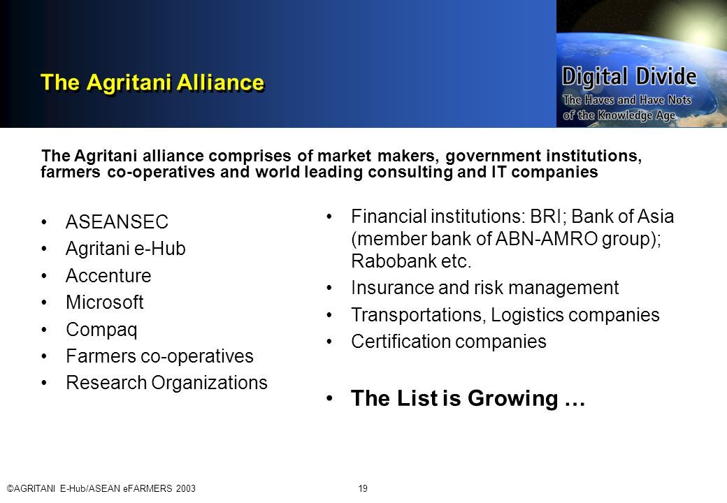©AGRITANI E-Hub/ASEAN eFARMERS 200319 The Agritani Alliance ASEANSEC Agritani e-Hub Accenture Microsoft Compaq Farmers co-operatives Research Organizations The Agritani alliance comprises of market makers, government institutions, farmers co-operatives and world leading consulting and IT companies Financial institutions: BRI; Bank of Asia (member bank of ABN-AMRO group); Rabobank etc.