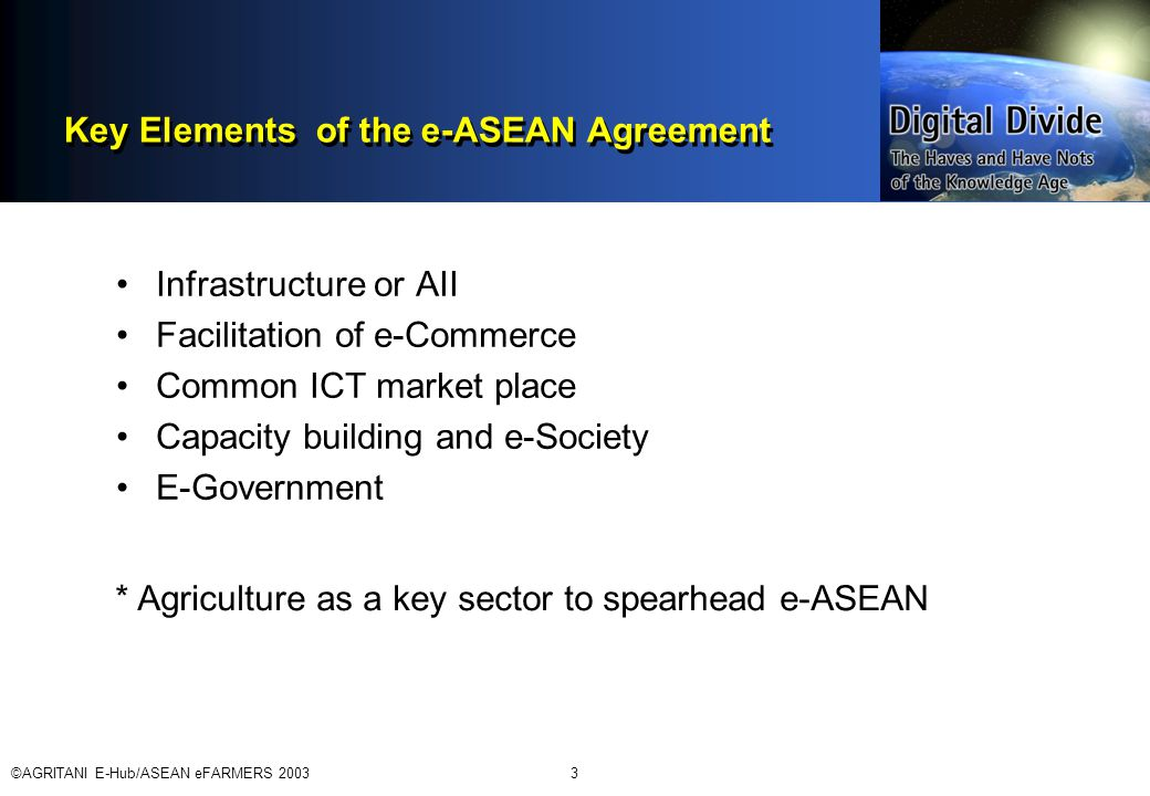 ©AGRITANI E-Hub/ASEAN eFARMERS 20033 Key Elements of the e-ASEAN Agreement Infrastructure or AII Facilitation of e-Commerce Common ICT market place Capacity building and e-Society E-Government * Agriculture as a key sector to spearhead e-ASEAN