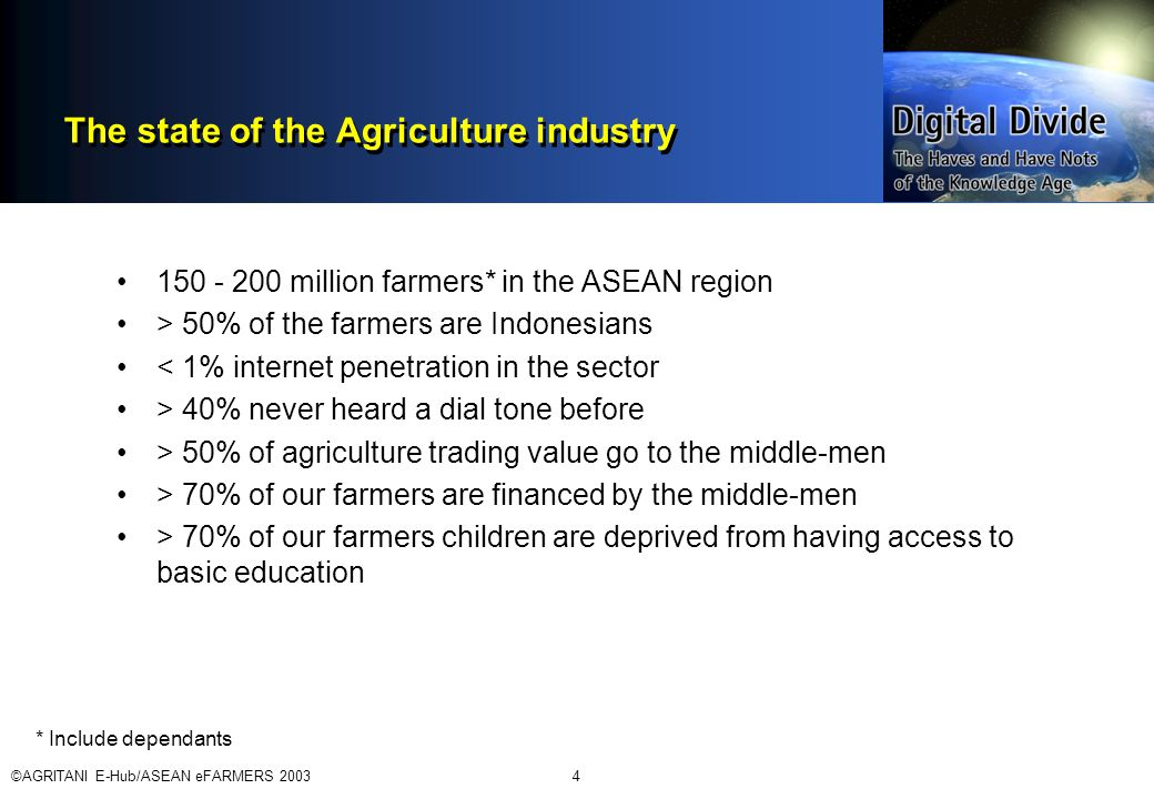 ©AGRITANI E-Hub/ASEAN eFARMERS 20034 The state of the Agriculture industry 150 - 200 million farmers* in the ASEAN region > 50% of the farmers are Indonesians < 1% internet penetration in the sector > 40% never heard a dial tone before > 50% of agriculture trading value go to the middle-men > 70% of our farmers are financed by the middle-men > 70% of our farmers children are deprived from having access to basic education * Include dependants