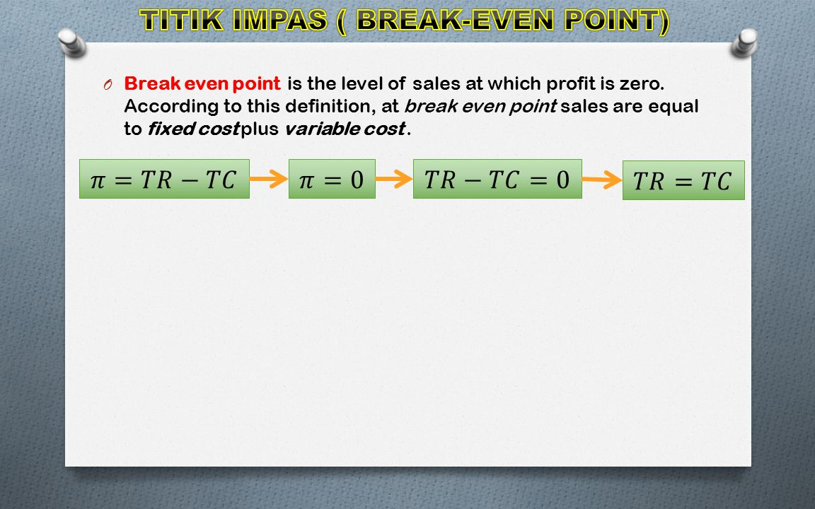 O Break even point is the level of sales at which profit is zero.