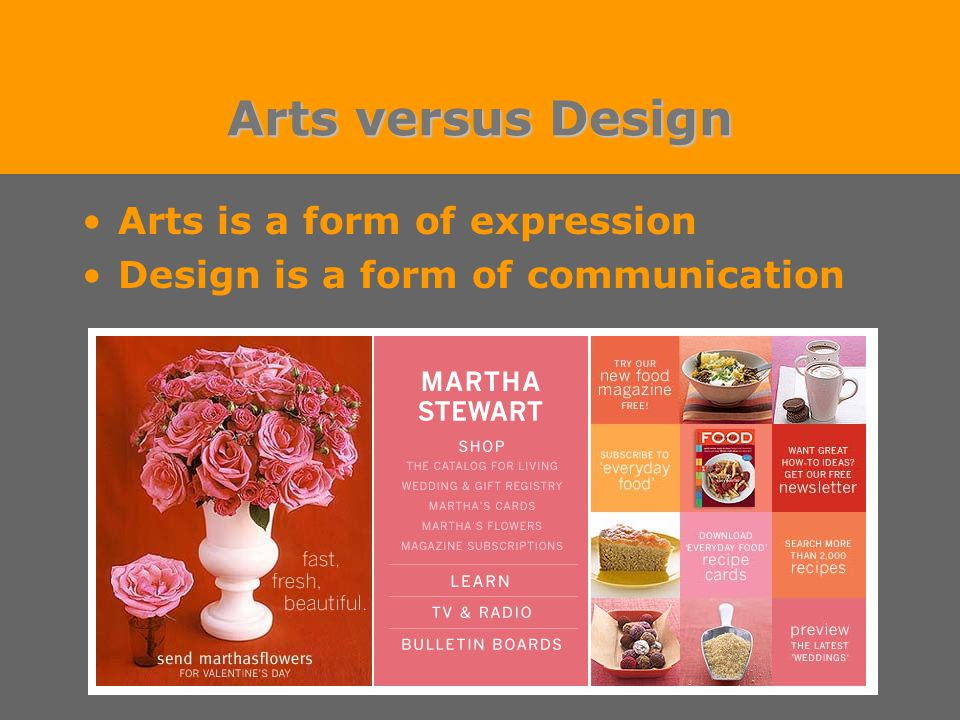 Arts versus Design Arts is a form of expression Design is a form of communication