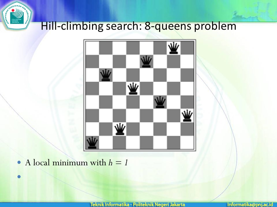 Hill-climbing search: 8-queens problem A local minimum with h = 1
