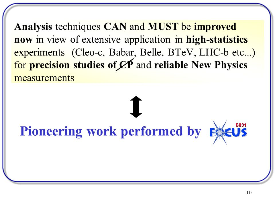 10 Analysis techniques CAN and MUST be improved now in view of extensive application in high-statistics experiments (Cleo-c, Babar, Belle, BTeV, LHC-b etc...) for precision studies of CP and reliable New Physics measurements Pioneering work performed by