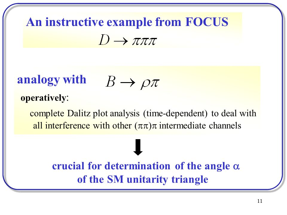 11 An instructive example from FOCUS Milano group analogy with operatively : complete Dalitz plot analysis (time-dependent) to deal with all interference with other (  )  intermediate channels crucial for determination of the angle  of the SM unitarity triangle