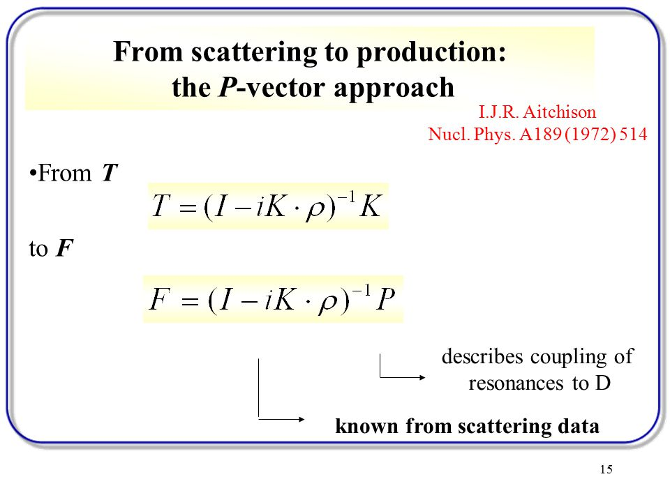 15 From T to F From scattering to production: the P-vector approach I.J.R.