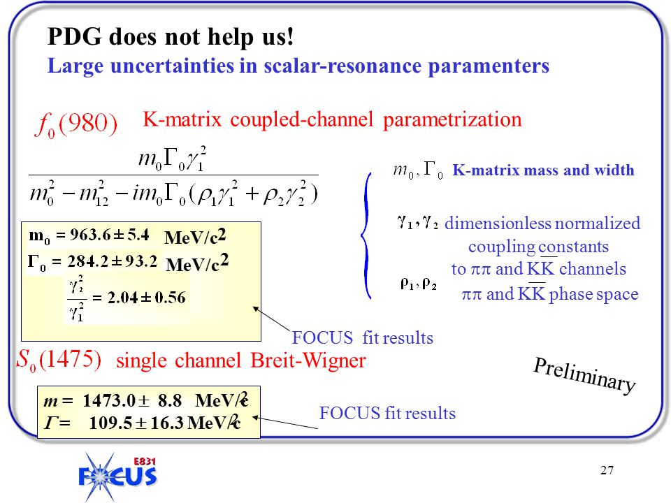 27 m = 1473.0  8.8 MeV/c  = 109.5  16.3 MeV/c K-matrix coupled-channel parametrization FOCUS fit results single channel Breit-Wigner FOCUS fit results K-matrix mass and width dimensionless normalized coupling constants to  and KK channels  and KK phase space Preliminary 2 2 MeV/c 2 2 PDG does not help us.