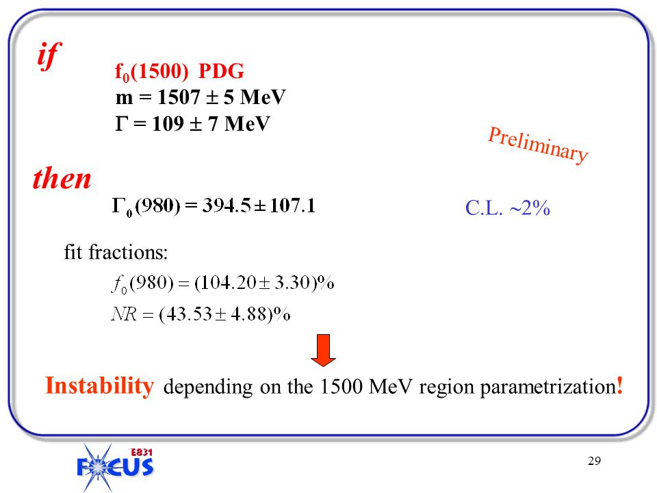 29 f 0 (1500) PDG m = 1507  5 MeV  = 109  7 MeV Preliminary if then fit fractions: C.L.
