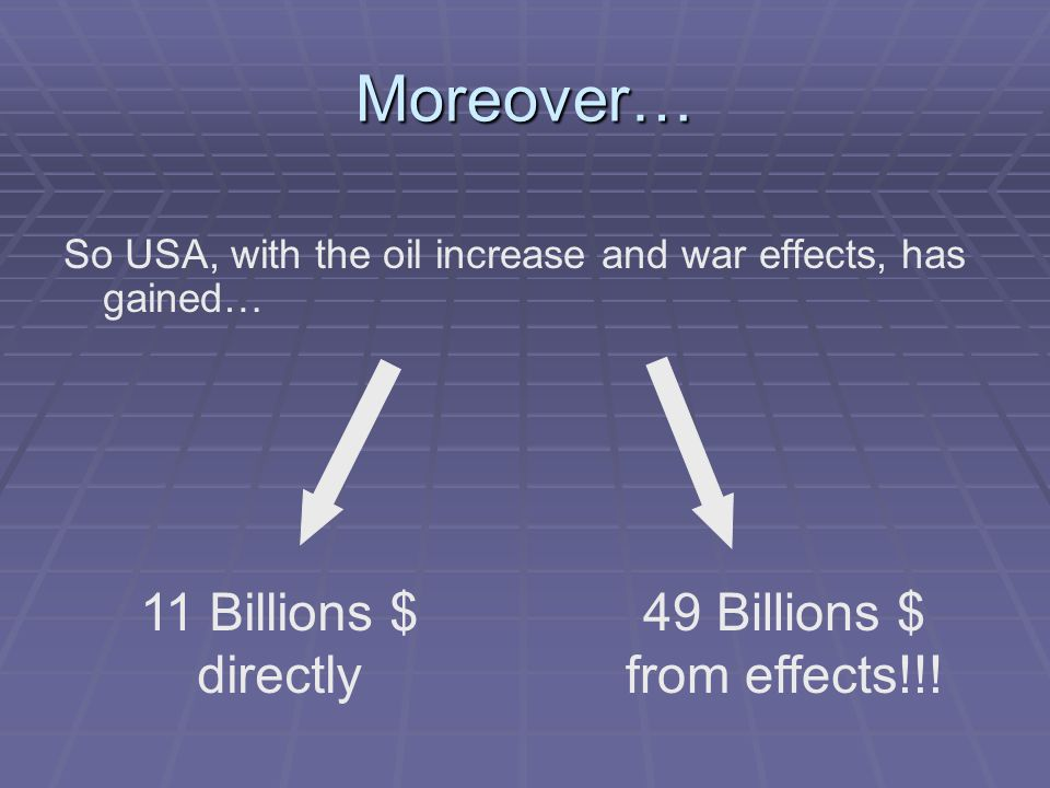 Moreover… So USA, with the oil increase and war effects, has gained… 11 Billions $ directly 49 Billions $ from effects!!!