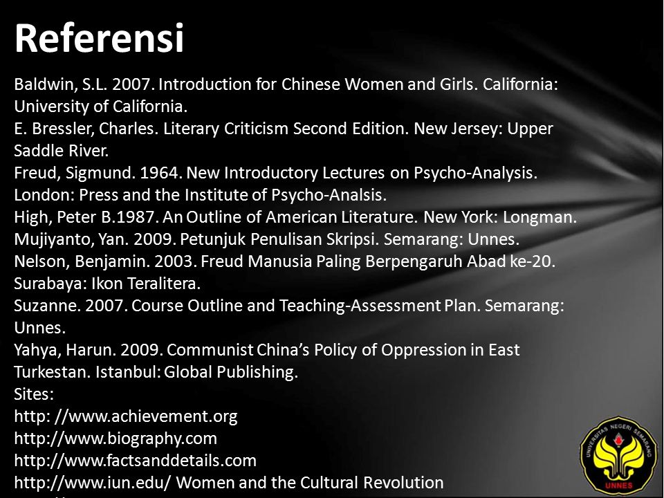 Referensi Baldwin, S.L. 2007. Introduction for Chinese Women and Girls.