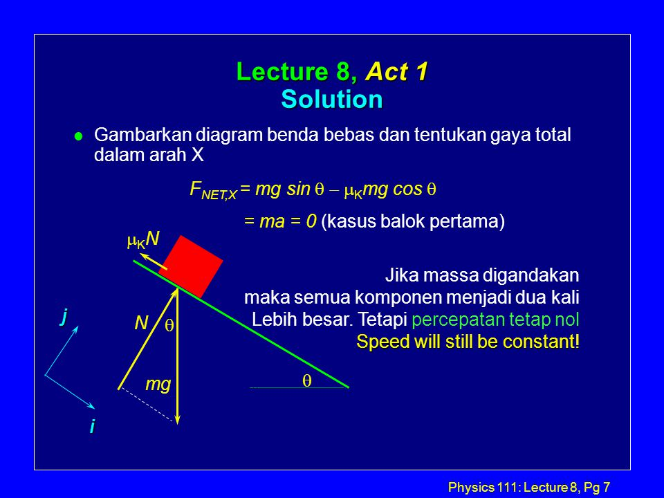 Physics 111 lecture 8 pg 1 physics 111 lecture 8 todays agenda l 7 physics ccuart Gallery