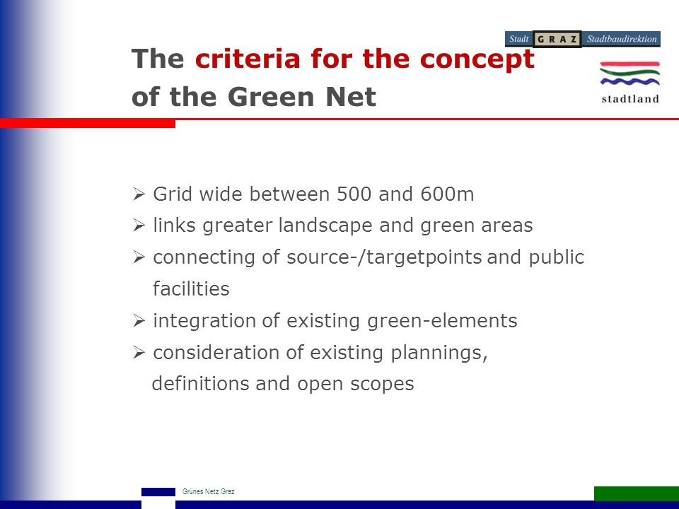 Grünes Netz Graz The criteria for the concept of the Green Net  Grid wide between 500 and 600m  links greater landscape and green areas  connecting of source-/targetpoints and public facilities  integration of existing green-elements  consideration of existing plannings, definitions and open scopes