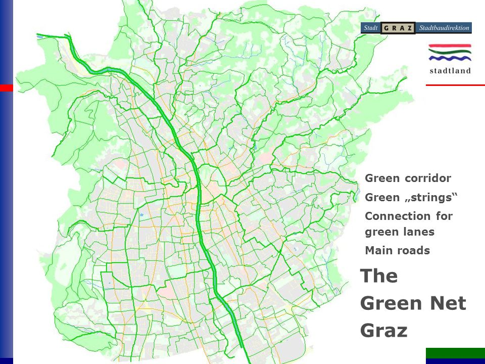 "Grünes Netz Graz The Green Net Graz Green corridor Connection for green lanes Main roads Green ""strings"
