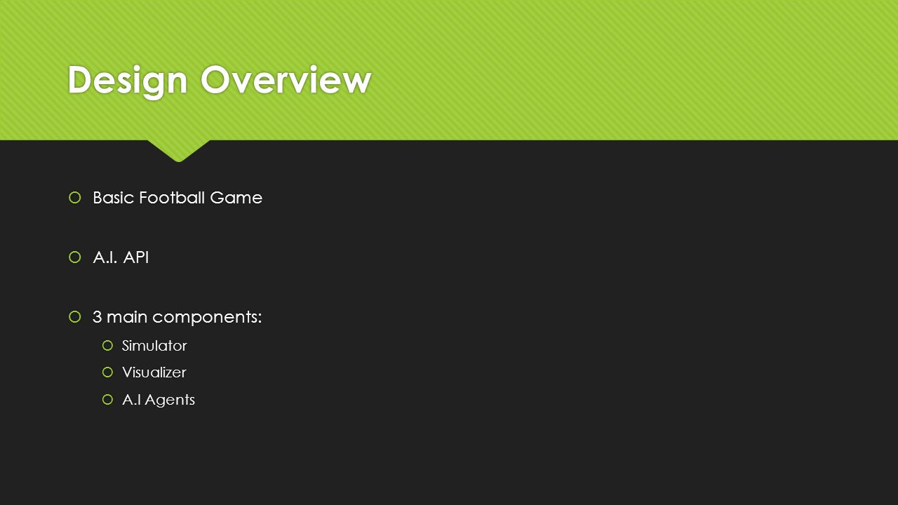 Design Overview  Basic Football Game  A.I.