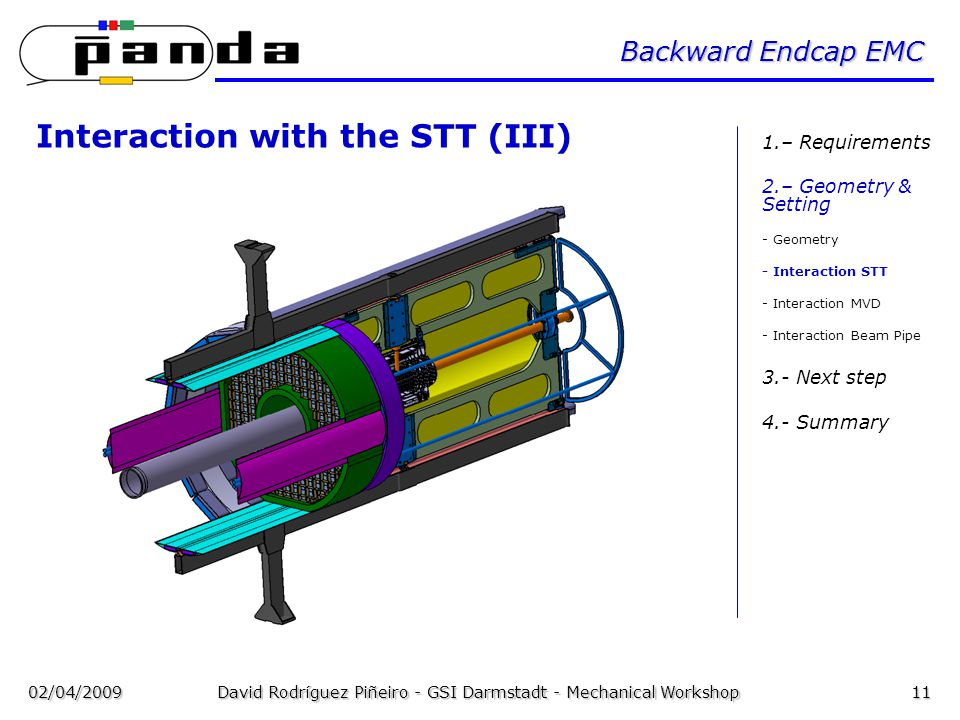 02/04/2009David Rodríguez Piñeiro - GSI Darmstadt - Mechanical Workshop11 Backward Endcap EMC Interaction with the STT (III) 1.– Requirements 2.– Geometry & Setting - Geometry - Interaction STT - Interaction MVD - Interaction Beam Pipe 3.- Next step 4.- Summary