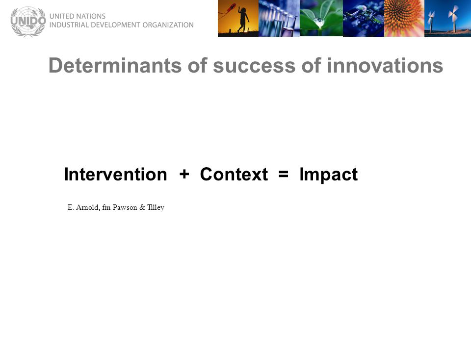 Determinants of success of innovations Intervention + Context = Impact E.