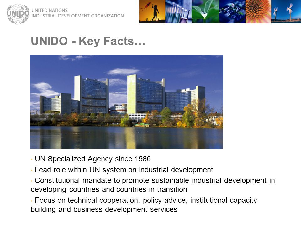 UNIDO - Key Facts… UN Specialized Agency since 1986 Lead role within UN system on industrial development Constitutional mandate to promote sustainable industrial development in developing countries and countries in transition Focus on technical cooperation: policy advice, institutional capacity- building and business development services UNIDO - Key Facts…