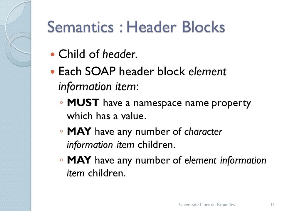 Semantics : Header Blocks Child of header.