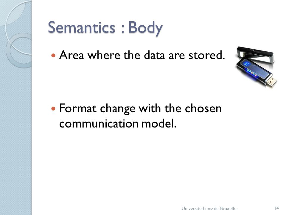 Semantics : Body Area where the data are stored. Format change with the chosen communication model.