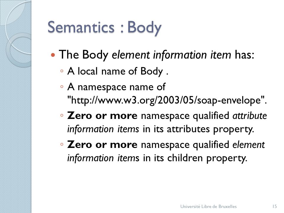 Semantics : Body The Body element information item has: ◦ A local name of Body.
