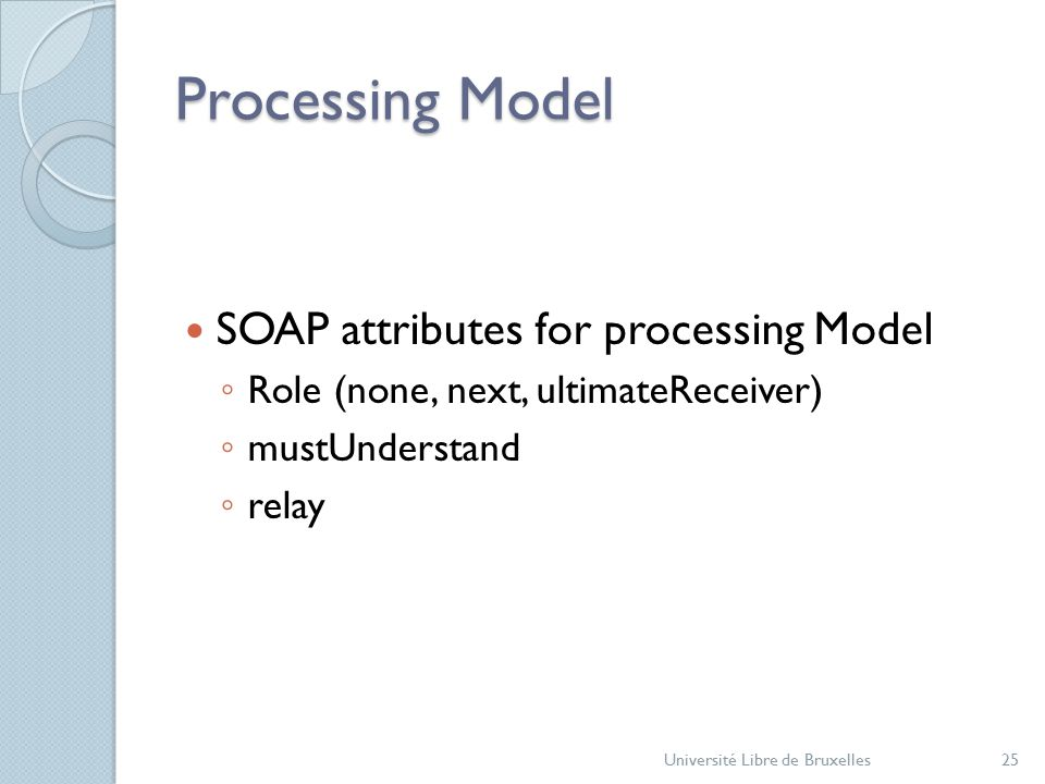 Processing Model Université Libre de Bruxelles25 SOAP attributes for processing Model ◦ Role (none, next, ultimateReceiver) ◦ mustUnderstand ◦ relay