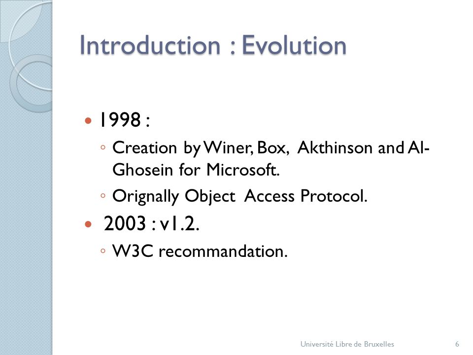 Introduction : Evolution 1998 : ◦ Creation by Winer, Box, Akthinson and Al- Ghosein for Microsoft.