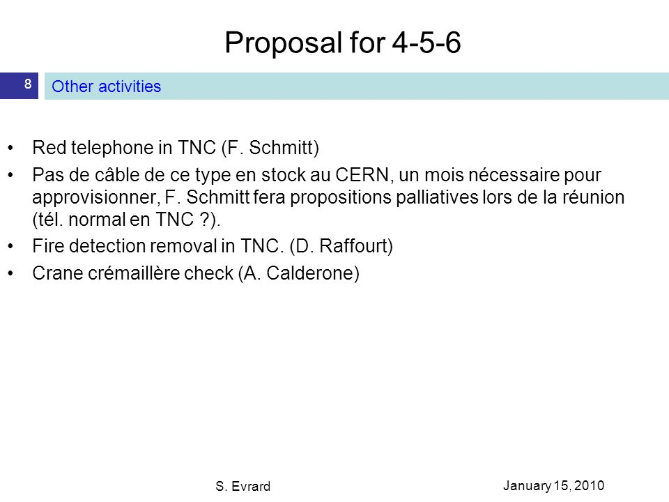 Proposal for S. Evrard 8 Other activities Red telephone in TNC (F.