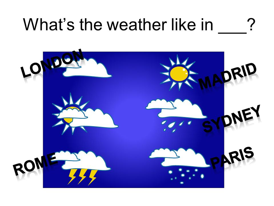 What's the weather like in ___