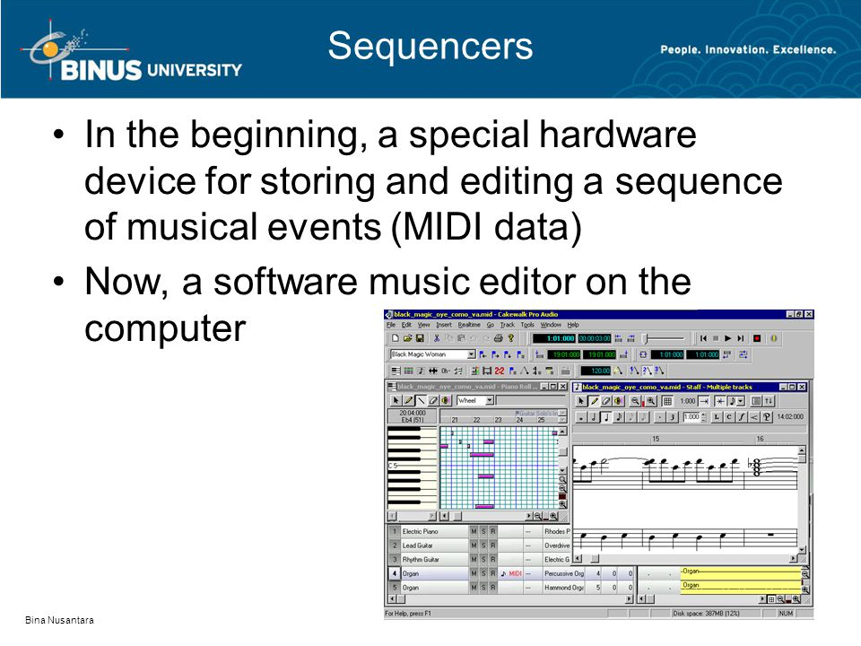 Sequencers In the beginning, a special hardware device for storing and editing a sequence of musical events (MIDI data) Now, a software music editor on the computer Bina Nusantara
