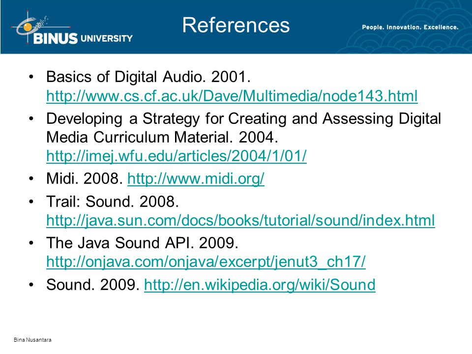 References Basics of Digital Audio