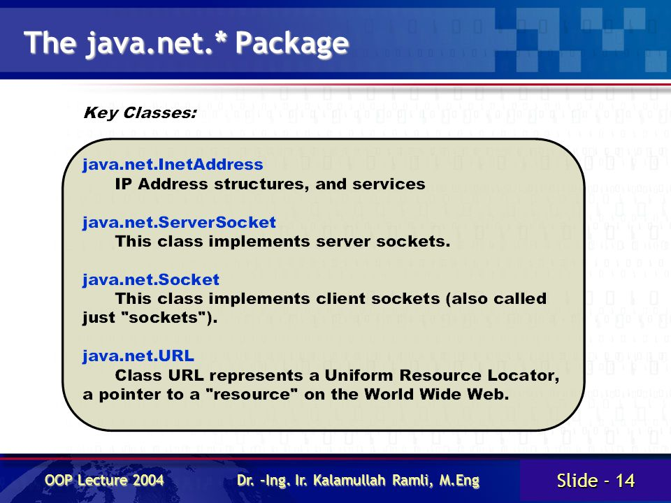 Slide - 14 OOP Lecture 2004 Dr. –Ing. Ir. Kalamullah Ramli, M.Eng The java.net.* Package