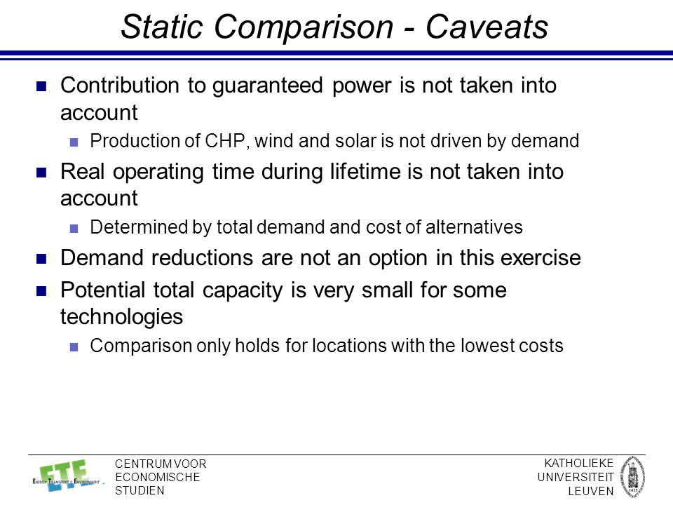 KATHOLIEKE UNIVERSITEIT LEUVEN CENTRUM VOOR ECONOMISCHE STUDIEN Static Comparison - Caveats Contribution to guaranteed power is not taken into account Production of CHP, wind and solar is not driven by demand Real operating time during lifetime is not taken into account Determined by total demand and cost of alternatives Demand reductions are not an option in this exercise Potential total capacity is very small for some technologies Comparison only holds for locations with the lowest costs
