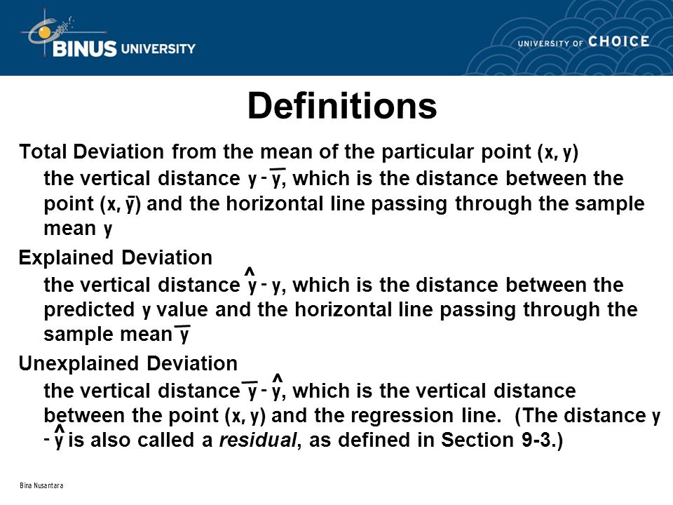 Bina Nusantara Definitions Total Deviation from the mean of the particular point ( x, y ) the vertical distance y - y, which is the distance between the point ( x, y ) and the horizontal line passing through the sample mean y Explained Deviation the vertical distance y - y, which is the distance between the predicted y value and the horizontal line passing through the sample mean y Unexplained Deviation the vertical distance y - y, which is the vertical distance between the point ( x, y ) and the regression line.