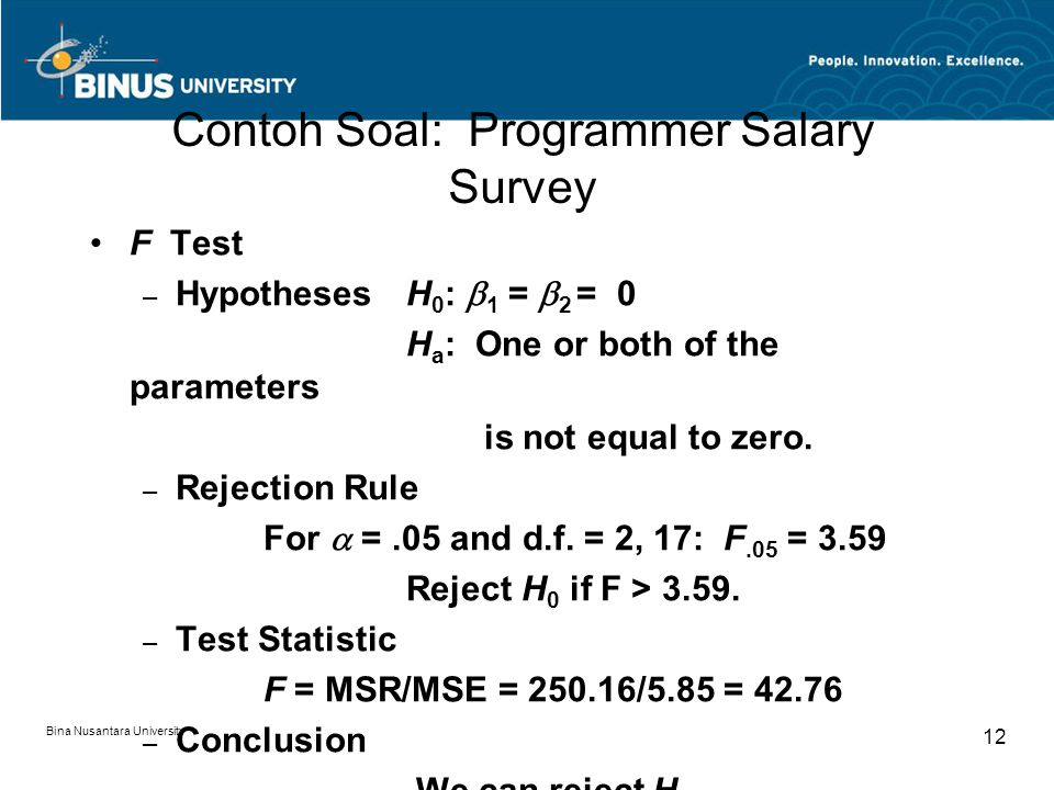 Bina Nusantara University 12 Contoh Soal: Programmer Salary Survey F Test – HypothesesH 0 :  1 =  2 = 0 H a : One or both of the parameters is not equal to zero.