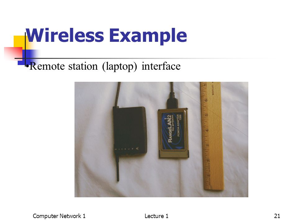 Computer Network 1Lecture 121 Wireless Example Remote station (laptop) interface