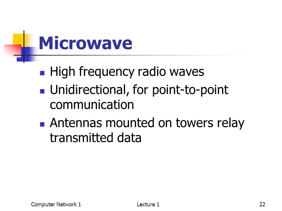 Computer Network 1Lecture 122 Microwave High frequency radio waves Unidirectional, for point-to-point communication Antennas mounted on towers relay transmitted data